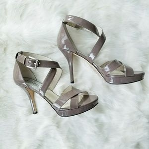 Michael Kors Taupe Patent Leather Strappy Heels
